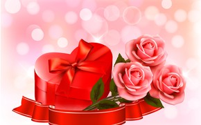 Picture flowers, holiday, roses, hearts, Valentine's day