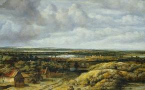 Picture landscape, oil, picture, canvas, Philips Koninck, The roadhouse