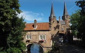 Picture Netherlands, Architecture, Netherlands, Architecture, South Holland, Eastern Gate, Delft, Oostpoort, Delft, River Skhi