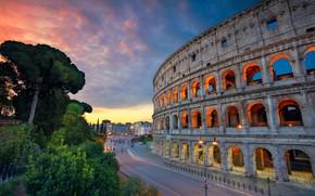 Wallpaper Italy, Rome, amphitheatre, Rome, Colosseum, architecture, road, Italy, Colosseum, Ancient Rome