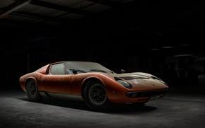 Picture Auto, Lamborghini, Dust, Machine, Orange, 1971, Car, Car, Supercar, The front, Old, Lamborghini Miura, P400, …