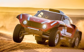 Picture Sunset, Sand, Red, Mini, Sport, Desert, Speed, Lights, Rally, Dakar, Dakar, Rally, The front, Buggy, …