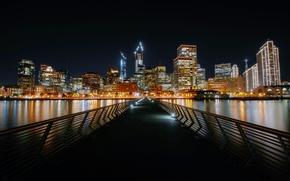 Picture night, bridge, lights, shore, home, CA, Bay, San Francisco, USA