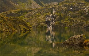 Picture mountains, lake, reflection, waterfall, Italy, Valle d'aosta