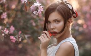 Picture look, face, hair, hand, portrait, spring, flowering, bokeh, Anastasia, Apollinarius Barinova