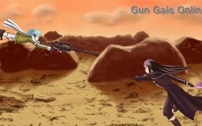 Picture anime, art, Sword Art Online, Kirito, Sinon
