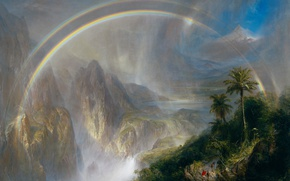 Wallpaper landscape, Frederic Edwin Church, The Rainy season in the Tropics, mountains, rainbow, picture
