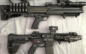 Picture gun, weapon, shotgun, AR-15, AR 15, Kel-Tec KSG, Kel-Tec, 12 gauge, KSG