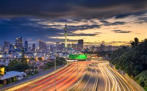 Wallpaper New Zealand, tower, Auckland, home, lights