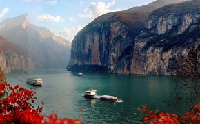 Picture autumn, leaves, river, rocks, ship, China, Yangtze, Three gorges