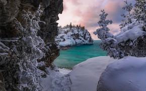 Wallpaper National Park Rail, Canada, Ontario, lake, Canada, Lake Huron, Bruce Peninsula, Lake Huron, Peninsula Timber, ...