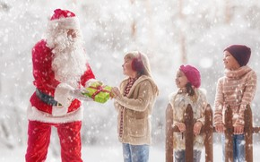 Picture winter, snow, children, holiday, new year, Santa Claus