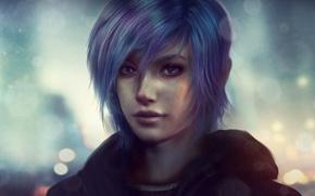 Picture look, girl, face, rain, hair, art, zoe