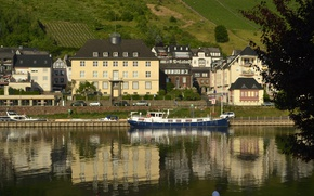 Wallpaper reflection, river, Home, The city, Germany, Building, promenade, Germany, Cochem, Cochem, Town