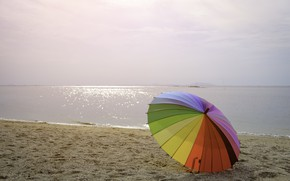 Wallpaper sand, sea, beach, summer, happiness, stay, umbrella, colorful, rainbow, summer, happy, beach, sea, umbrella, sand, ...