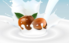 Picture background, milk, nuts, hazelnuts