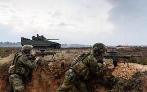 Picture gun, soldier, sky, weapon, cloud, man, flag, Norway, rifle, viking, tank, Norwegian, armored, vegetation, uniform, …