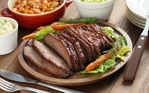 Picture meat, carrots, salad, pork