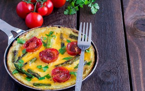 Picture greens, plug, scrambled eggs, vegetables, tomatoes, omelette