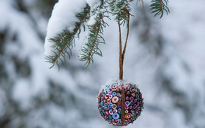 Wallpaper winter, snow, holiday, tree, ball, Christmas, decoration