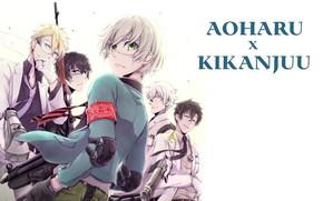 Picture weapons, arrows, glasses, tie, headband, guys, grin, players, girl, matsuoka masamune, aoharu x kikanjuu, hotaru …