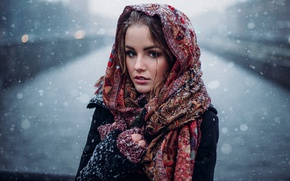 Picture winter, look, girl, snow, snowflakes, portrait, the evening, makeup, brown hair, beauty, shawl, coat, bokeh, …