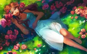 Picture summer, grass, lies, red, art, sundress, red roses, barefoot, Jyundee