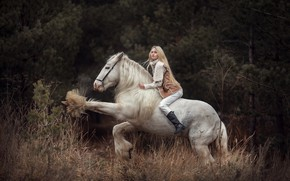 Wallpaper girl, horse, blonde, rider