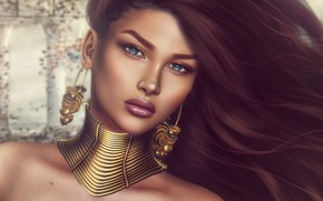 Picture earrings, face, girl, decoration, hair