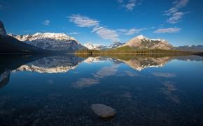 Picture mountains, lake, reflection, Canada, Albert, Alberta, Canada, Canadian Rockies, Canadian Rockies, Upper Kananaskis Lake, Sarrail …