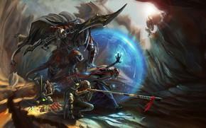 Picture sword, fantasy, monster, weapons, digital art, artwork, shield, fantasy art, spear, Warriors, magician, creatures, potions, …