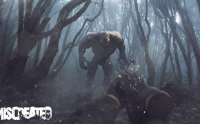 Picture forest, trees, fog, weapons, monster, zombies, miscreated