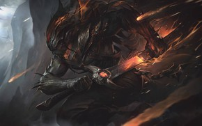 Wallpaper the game, the demon, art, League of Legends, Alex Flores, Nightbringer Yasuo, the demon Yasuo