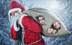 Wallpaper Santa Claus, Snow, Children, Christmas, Santa Claus, Girls, New Year