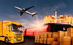 Picture the sky, red, yellow, ship, photoshop, train, port, truck, boxes, the plane, container