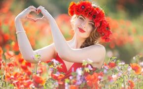 Picture girl, flowers, mood, heart, Maki, hands, meadow, wreath