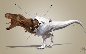 Picture abstraction, dinosaur, Rex, geometric shapes