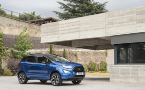 Picture auto, wall, Ford, blue, EcoSport, ST-Line