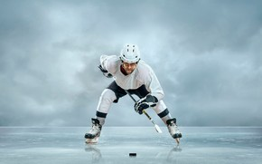 Picture white, pose, background, ice, gloves, helmet, male, stick, uniform, hockey player, skates