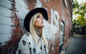 Picture women, Smoke, Blonde, Tattoo, Smoking, Hat, Blue Eyes, Against Wall