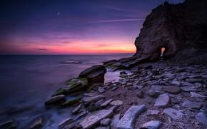 Picture sea, beach, landscape, sunset, nature, sunrise, stones, rocks, pink, shore, nature, sunset, pink, seascape, beautiful, ...