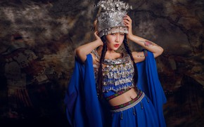 Wallpaper Asian, model, tattoo, braids, headdress, outfit, background, style, pose