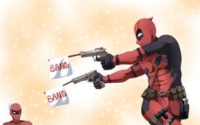 Picture gun, pistol, weapon, Deadpool, Spider-Man, Spiderman, Spider Man, by claudiadragneel