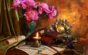 Wallpaper beads, watch, bouquet, still life, peonies, candle, notes, violin