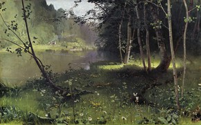 Picture landscape, nature, picture, Forest River, Nikolay Dubovskoy