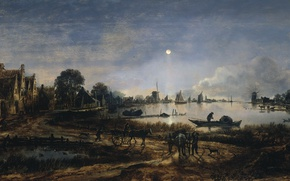 Picture landscape, tree, oil, picture, Art van der NEER, A view of the River in the …