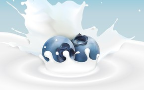 Picture background, milk, blueberries, berry