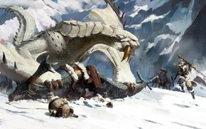 Picture artwork, snow, battle, snowfall, weapons, mountain, digital art, fantasy art, sword, Monster, rock, warriors, fantasy