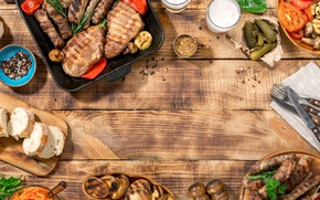 Wallpaper meat, wood, sauce, bread, BBQ, grilled, vegetables, grill, meat