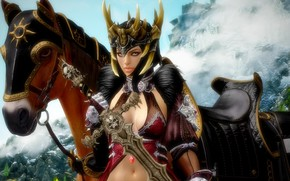 Wallpaper girl, fantasy, horse